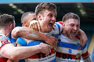 Hornets players celebrate the win against Dewsbury Rams. Photographer: Jackie Meredith