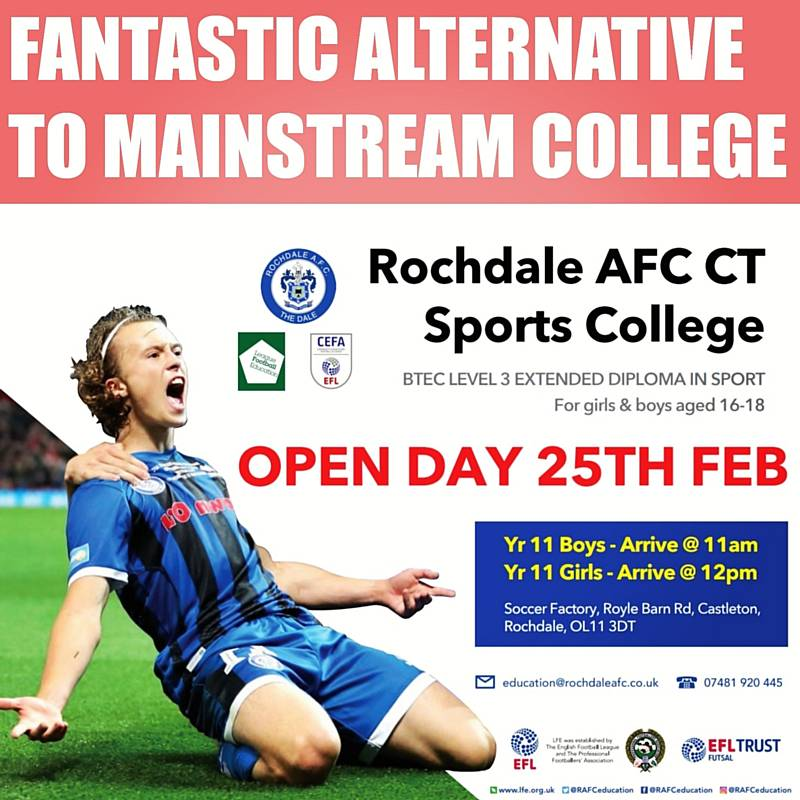 Rochdale AFC CT Sports College - for boys and girls aged 16-18