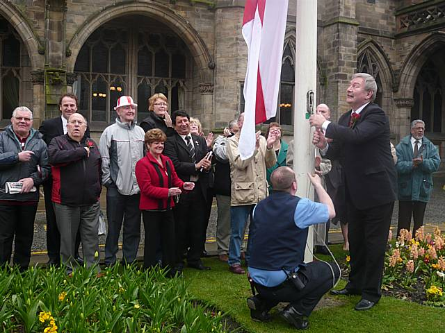 Raising of the St George flag outside Rochdale Town Hall