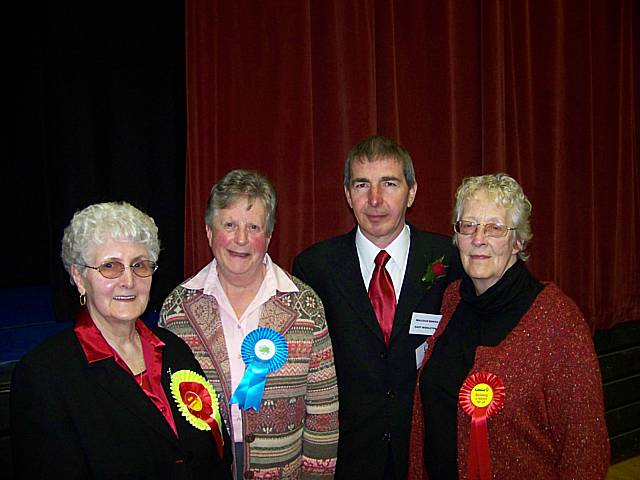 Maureen Rowbotham, far right, with Lil Murphy, Teresa Fitzsimons  and Malcolm Boriss in 2008