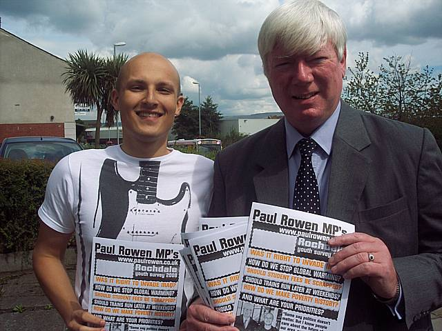 Paul Rowen MP with Adam Power launching the survey
