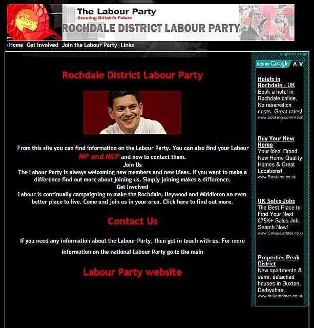 Screenshot of the Rochdale Labour Party website with the photo of David Miliband