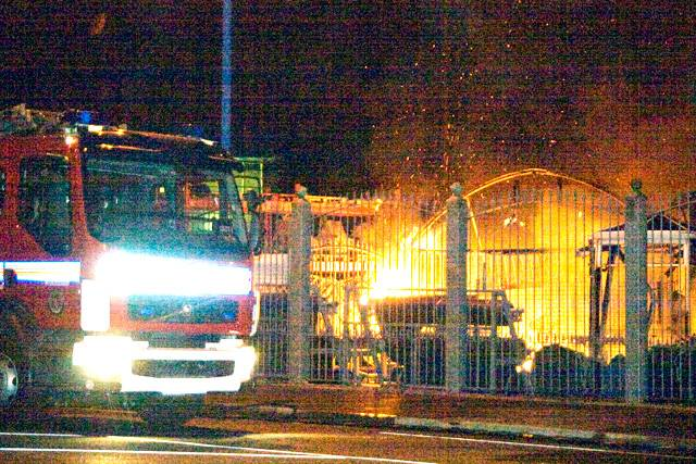 Gordon Rigg Garden Centre on fire