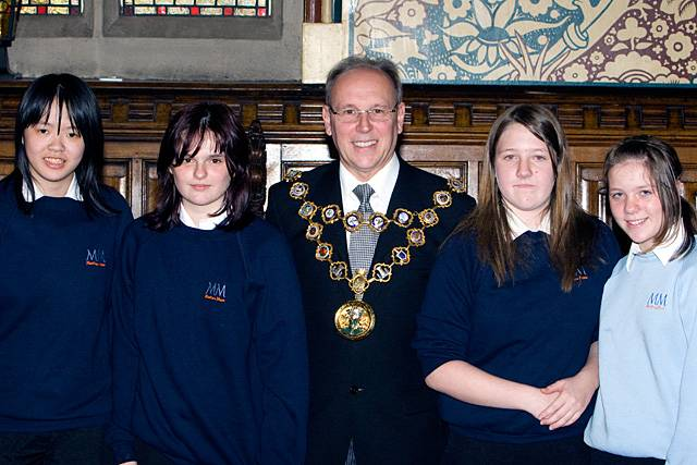 Matthew Moss High School pupils with Mayor Councillor Keith Swift at the Borough in Bloom Awards.