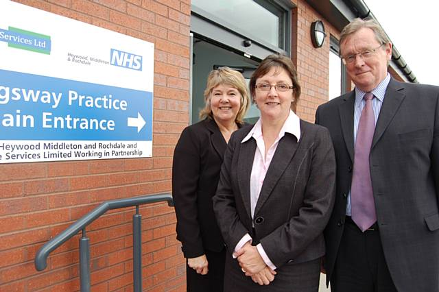 The Kingsway Practice at Morrisons: (Left to right) Director Lesley Mort from NHS Heywood Middleton and Rochdale, Practice Manager Louise Clemens and Chairman John Pierce.