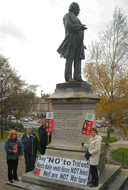 Rochdale and Littleborough Peace Group members at John Bright's statue.
