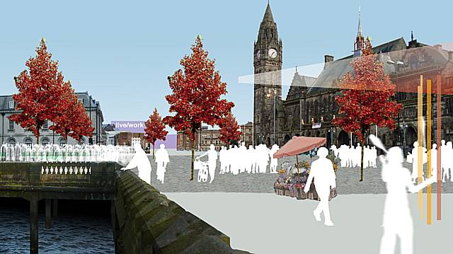 Artist's impression of 'the largest town square in the UK', which will form a major part of the new Rochdale town centre.