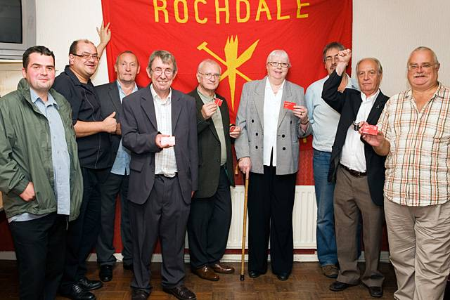 Steven Burke, Mark Hollinrake, Jack Brassington, Tom Stott, Mick Cummings, Maureen Nicholl, Mick Coates, Councillor Robin Parker and Dave Lee defiant at Rochdale Labour Club following the expulsion and suspension of the 'Rochdale Seven'