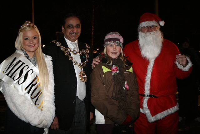 Miss Rochdale, the Mayor of Rochdale, 11-year-old Emily Aspinal and Father Christmas