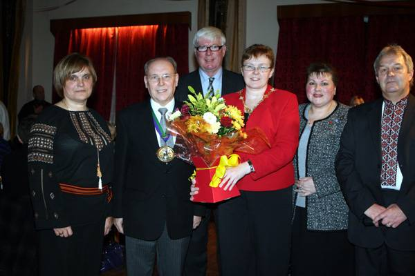 Maria Kopczuk, the Mayor and Mayoress of Rochdale, Paul Rowen MP, Councillor Angela Coric and Walter Duchak