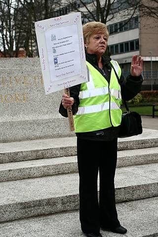 Councillor Ashworth at the 'Save our Services' public march earlier this year