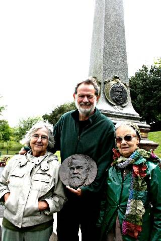 A monumental moment for the Broadfield Park Friends' Group (L-R) Neta Smart, Tony Smart and Ann Beasley