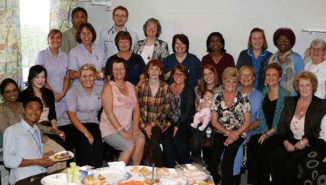 Past and present members of staff at a gathering to mark the end of the Children's Ward