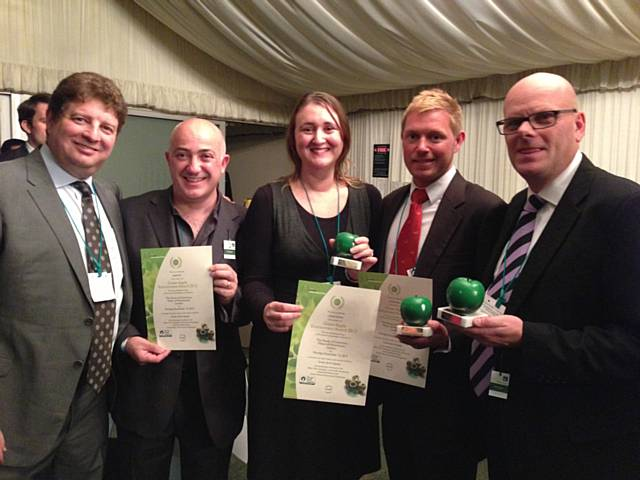 Receiving their Green Apple Award are Scott Saunders of GabiH2O, Avi Djanogly, founder of GabiH2O, United Utilities' Demand Strategy Analyst Maxine Stiller, Jamie Greene, Director of Business Development at Nickelodeon UK and Geoff Loader, Director of Communications, Southern Water