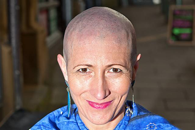 Isabelle Walker-Lefebvre with her shaved head
