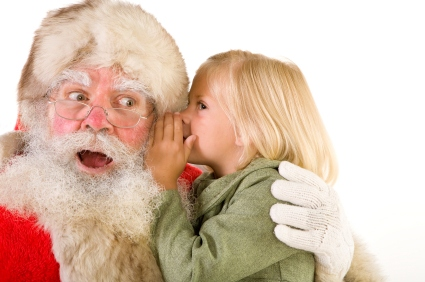 Father Christmas with a little girl