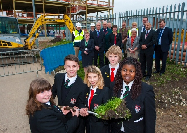 Pupils are joined by teachers, contractors and the Building Schools for the Future team to mark the transformation works that are underway