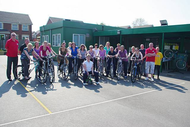 Staff from St Edward�s Primary school take part in the Try-a-bike event