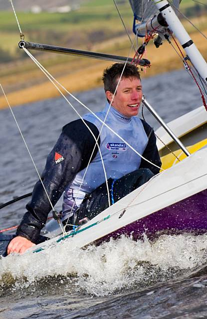 Olympic silver medallist Stuart Bithell sailing on Hollingworth Lake