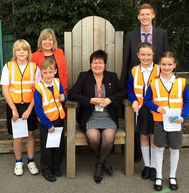Front row: Quinlan Otterly O�Conner, Louie Harris, Councillor Janet Emsley, Grace Harris and Darcey Harris (winner)<br />