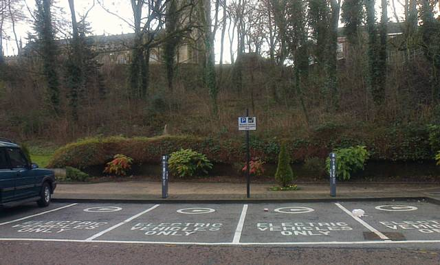 Charging posts at the back of the Town Hall Car Park