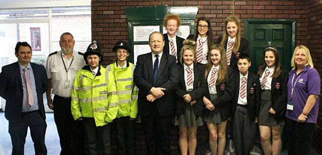 St Cuthbert Year 9 pupils with Simon Danczuk, MP, Ruth Sillence, RBH Communities First Co-ordinator and police officers