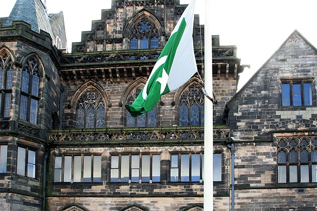 Flag of Pakistan being raised