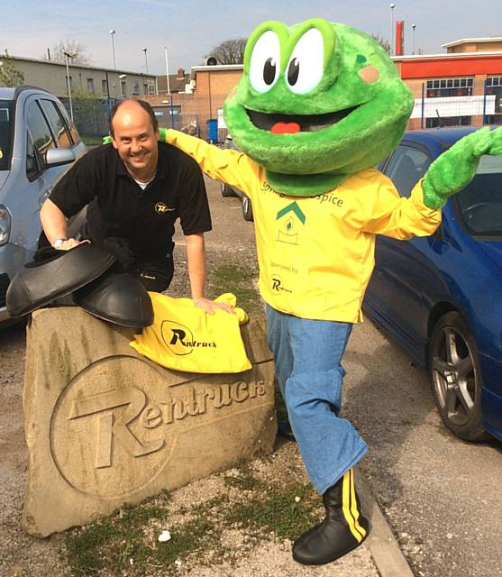 Richard Cotton of Rentruck pictured in 2014 with Springy from Springhill Hospice