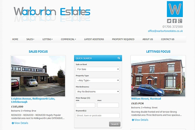 Screenshot of the new Warburton Estate Agents website