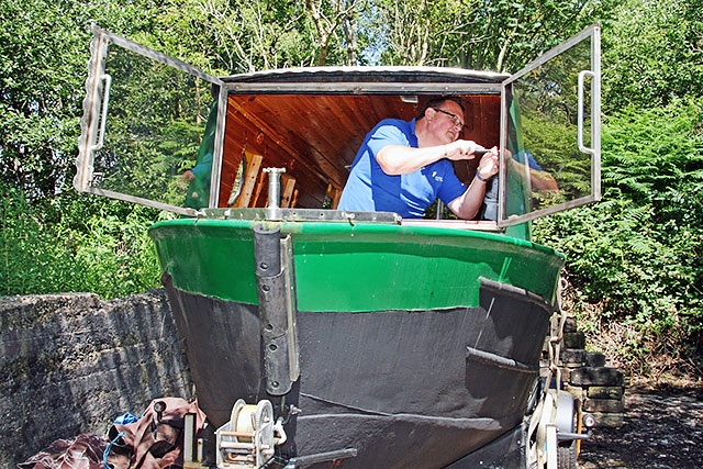 Bob Furnell working on the Littleborough Canal Boat Project