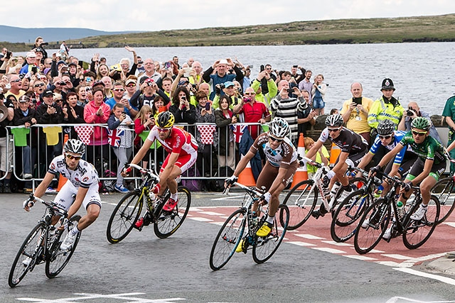 Tour de France 2014 along the section of B6138 and the A58 adjacent to Blackstone Edge reservoir
