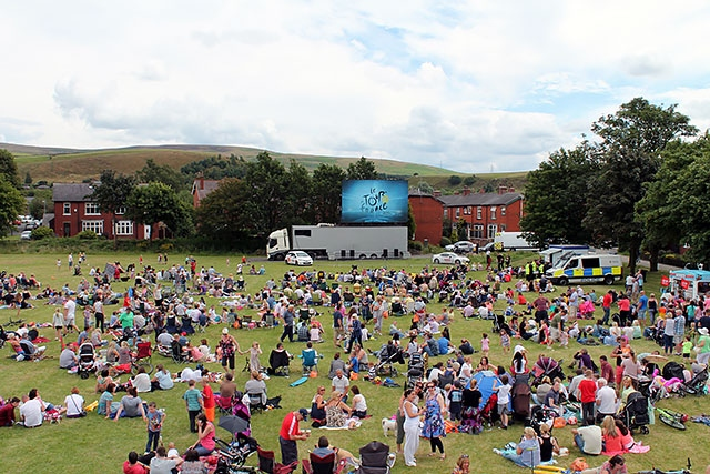 Around 3,000 people watched the Tour de France on a big screen in Hare Hill Park