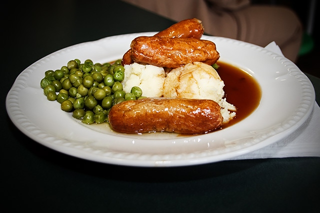 Sausage, mash, peas and gravy - free school meal