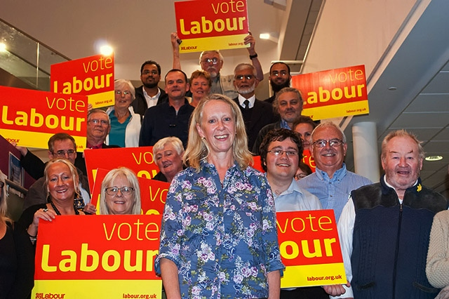 Liz McInnes with supporters after her selection