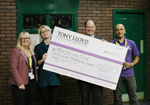Ruth Sillence (RBH), Nicky Morris (RBH), Jim Battle (Deputy Police & Crime Commissioner) and Fida Hussain (RBH) with the presentation cheque