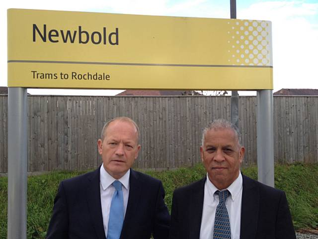 Simon Danczuk MP and Daalat Ali at Newbold Metrolink Stop
