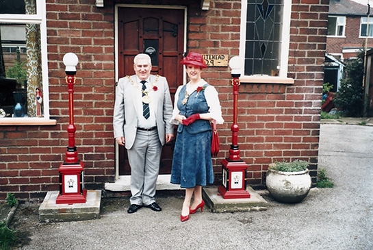 Mayoral lamps outside former Mayor of Rochdale Allan Whitehead's home