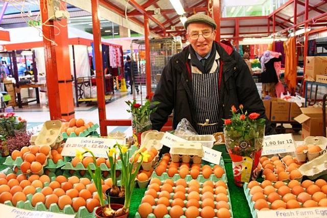Peter Jordan would have celebrated the 100th anniversary of his family business on Rochdale market next month, pictured here in 2015