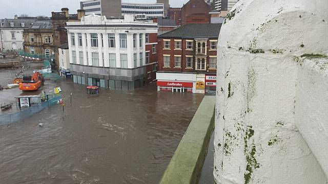 Flooding in Rochdale - Town Centre under water