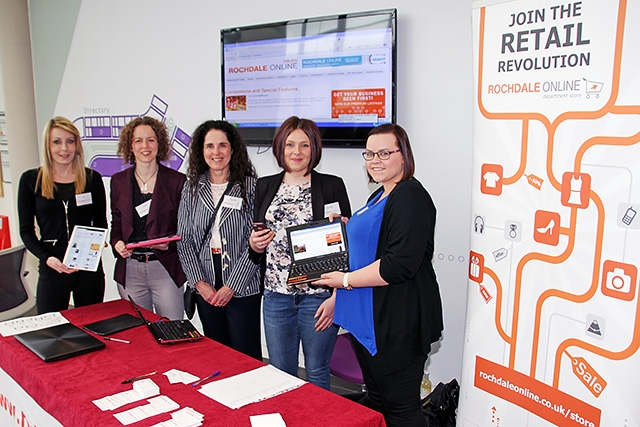 The Rochdale Online Team (Liz Munday, Claire Blanthorn, Pauline Journeaux, Harriet Jackson and Amy Westlake) at the Rochdale Digital Festival