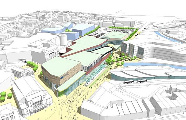 Rochdale�s retail and leisure development - aerial view of how the scheme might look