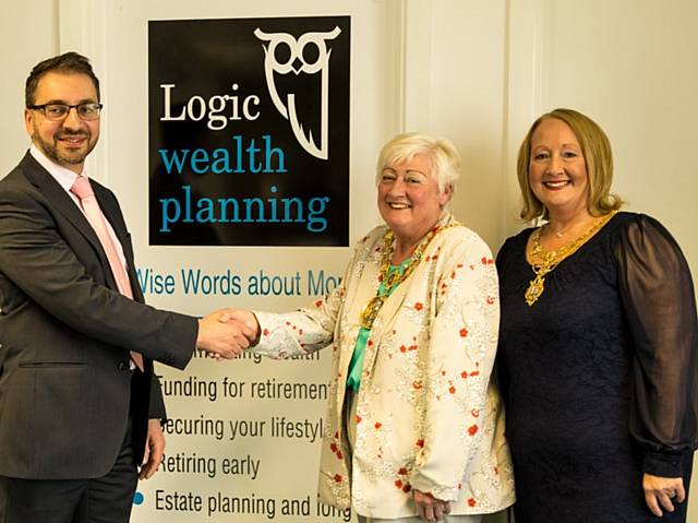Yianni Theodorou, Managing Director, Logic Wealth Planning  with The Mayor and Mayoress of Rochdale, Carol Wardle and Beverley Place