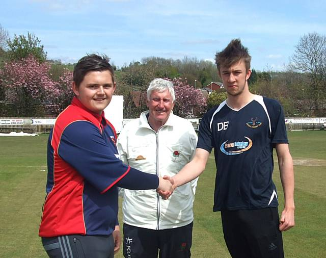 Dom Morris (Bury) and Daniel Buckley (Norden) at the coin toss