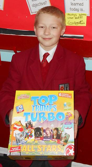 Thomas Stott who won the Top Trumps competition