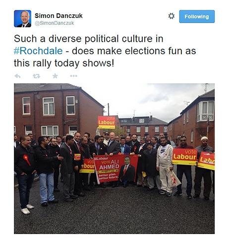 Screen shot of Simon Danczuk Twitter post - diverse politics photo