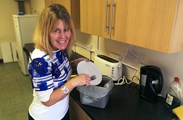 Cllr Beswick recycles food waste