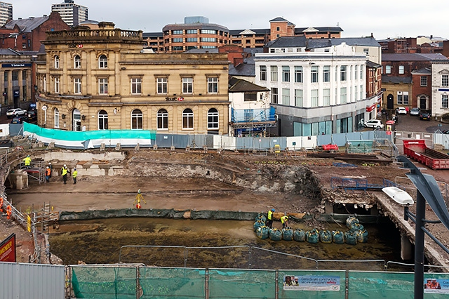 Uncovering the River Roch in Rochdale Town Centre - an aerial view from Bar 5