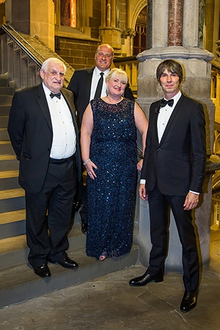 Harry Bell with son Chris Bell, daughter Louise Scott and nephew Prof Brian Cox