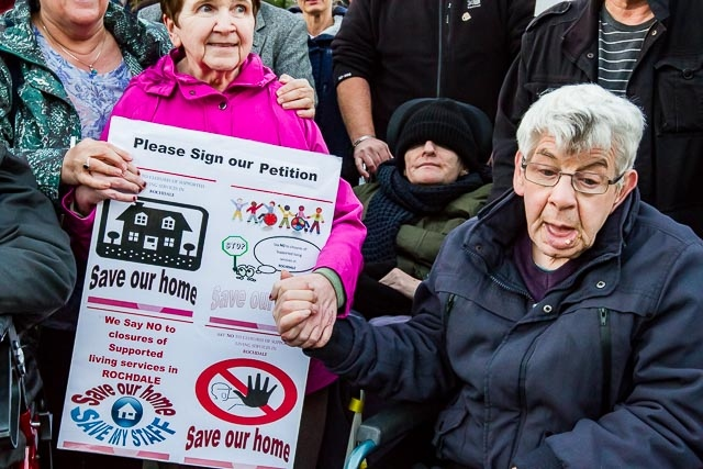 Previous vigil against Council's proposed cuts to adult care services