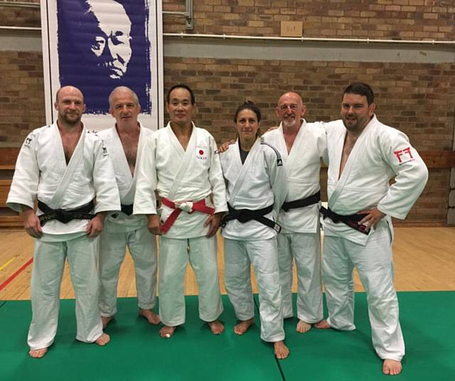 Danny Carr (left) at Edinburgh Master Class with Mike Liptrot (Kendal Judo Club), Katsuhiko Kashiwazaki, Sophie Cox, Nick Hill (Kendal), Danny Harper (NW coach)